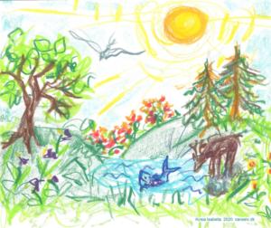 Begræns mikrobølgestråling og bevar naturen. Illustration af Kirsia Isabella Olufsen.